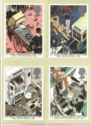 Great Britain 1987 Centenary of St John Ambulance Service set of 4 PHQ cards unused and pristine