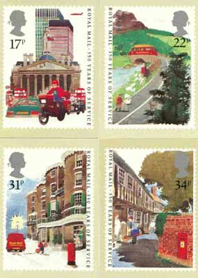 Great Britain 1985 Royal Mail 350 Years set of 4 PHQ cards unused and pristine