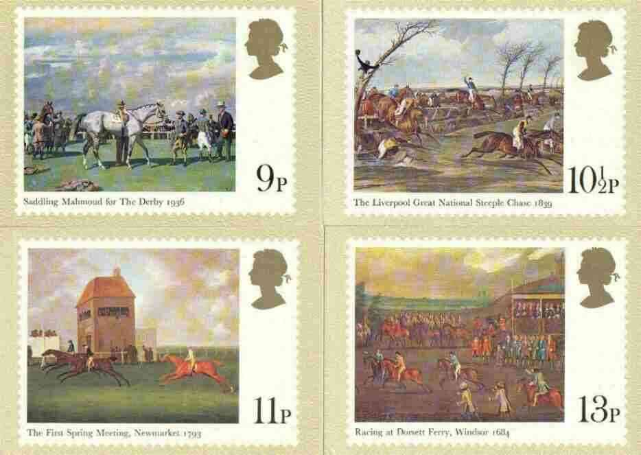 Great Britain 1979 Horseracing Paintings set of 4 PHQ cards unused and pristine