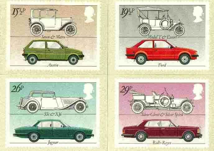 Great Britain 1982 British Motor Cars set of 4 PHQ cards unused and pristine