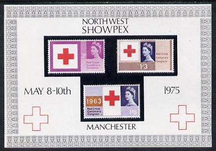 Exhibition souvenir sheet for 1975 North West Showpex showing Great Britain Red Cross stamps unmounted mint