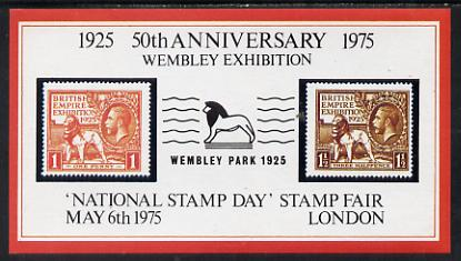 Exhibition souvenir sheet for 1975 National Stamp Day showing Great Britain Wembley pair with 'Lion' cancel