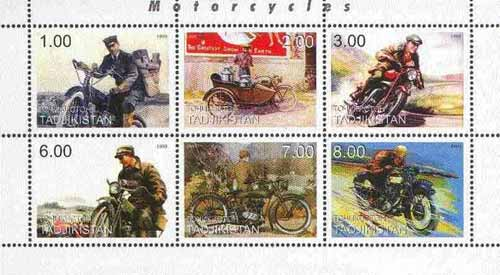 Tadjikistan 1999 Motorcycles sheetlet containing complete set of 6 values unmounted mint