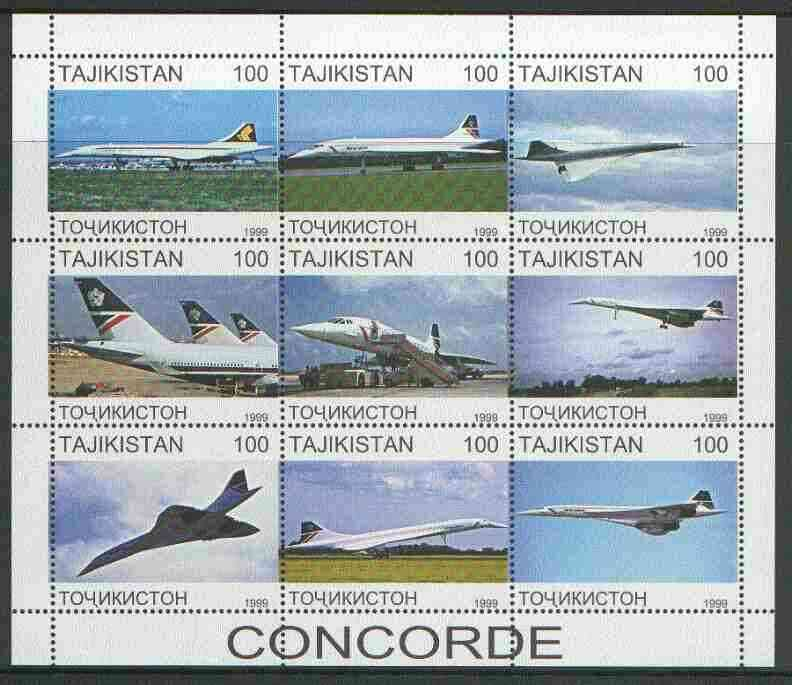 Tadjikistan 1999 Concorde perf sheetlet containing complete set of 9 values unmounted mint