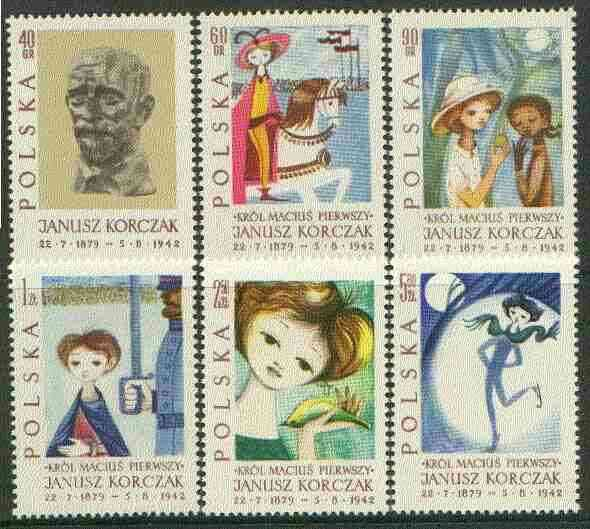 Poland 1962 Death Anniversary of Janusz Korczak (child educator) set of 6 unmounted mint, SG 1344-49, Mi 1357-62