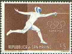 San Marino 1960 Fencing 5L (from Olympic Games set) unmounted mint SG 607*