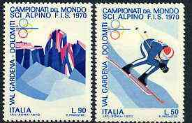 Italy 1970 World Skiing Championships set of 2 unmounted mint, SG 1251-52*