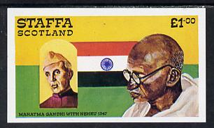 Staffa 1979 Gandhi imperf souvenir sheet (�1 value) unmounted mint