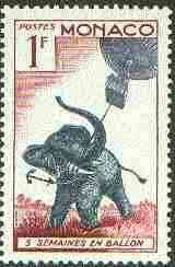 Monaco 1955 Elephant & Balloon 1c (From Jules Verne set) unmounted mint SG 529*