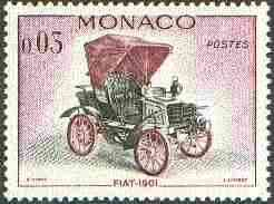 Monaco 1961 Fiat 1901 3c (from Veteran Motor Cars set) unmounted mint SG 706*