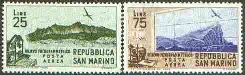 San Marino 1952 Aerial Survey set of 2 unmounted mint SG 452-53