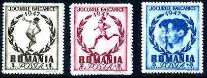 Rumania 1948 Balkan Games Postage set of 3 unmounted mint, SG 1928-30*
