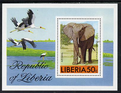 Liberia 1976 Animals m/sheet (Elephant & Storks) unmounted mint SG MS 1296