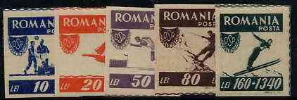 Rumania 1946 Sports imperf set of 5 unmounted mint, SG 1816B-20B