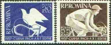 Rumania 1957 Tenth International cycle race set of 2 unmounted mint, SG 2506-06*