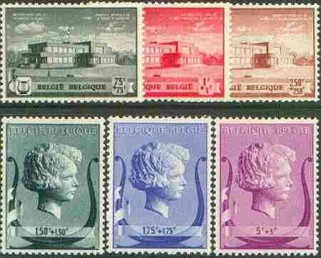 Belgium 1940 Queen Elizabeth Musical Foundation set of 6 unmounted mint, Mi 529-34 (see note after SG 875)