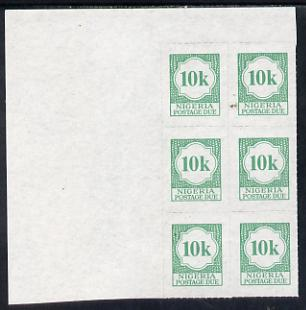 Nigeria 1987 postage due 10k green corner block of 6 rouletted 9 (SG D14a) unmounted mint