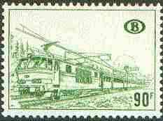 Belgium 1973 Railway Parcels - Electric Train 90f olive-green unmounted mint, SG P2063a