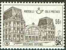 Belgium 1972 Railway Parcels - Ostend Station 56f on 52f brown unmounted mint, SG P2260