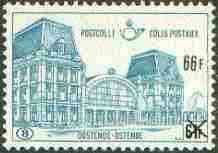 Belgium 1972 Railway Parcels - Ostend Station 66f on 61f turquoise-blue unmounted mint, SG P2262