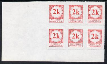 Nigeria 1987 postage due 2k red corner block of 6 rouletted 9 (SG D11a) unmounted mint