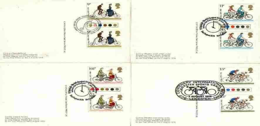 Great Britain 1978 Cycling Centenaries set of 4 PHQ cards with appropriate traffic light gutter pairs each very fine used with first day cancels