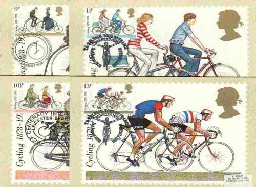 Great Britain 1978 Cycling Centenaries set of 4 PHQ cards with appropriate stamps each very fine used with first day cancels