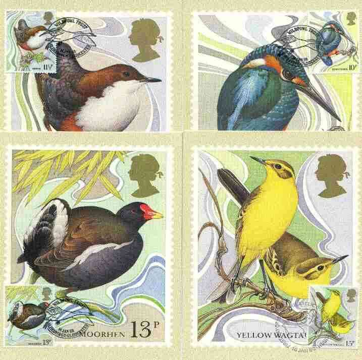 Great Britain 1980 Centenary of Wild Birds Protection Act set of 4 PHQ cards with appropriate stamps each very fine used with first day cancels