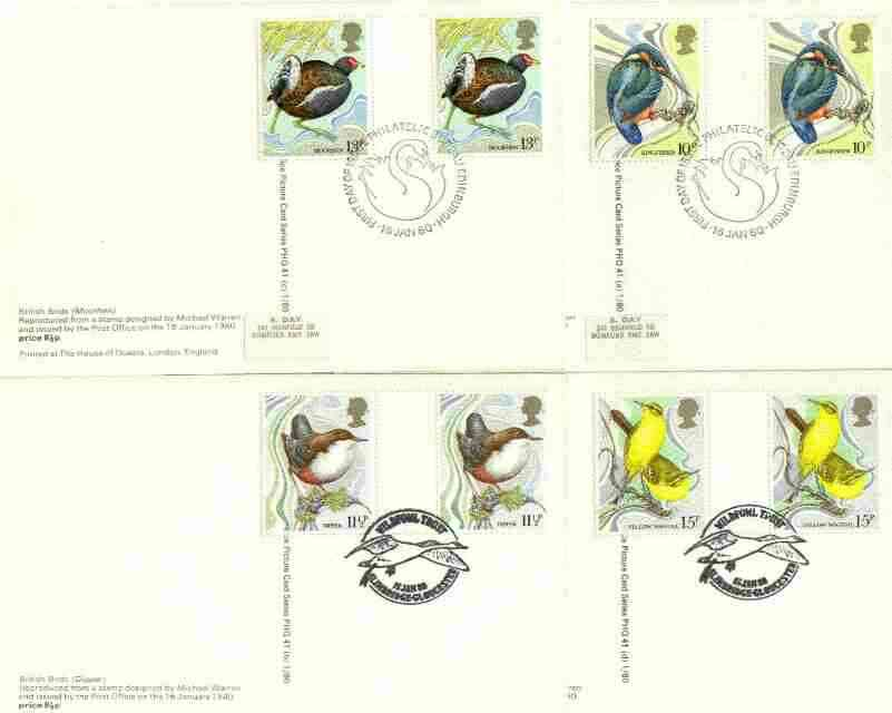 Great Britain 1980 Centenary of Wild Birds Protection Act set of 4 PHQ cards with appropriate gutter pairs each very fine used with first day cancels