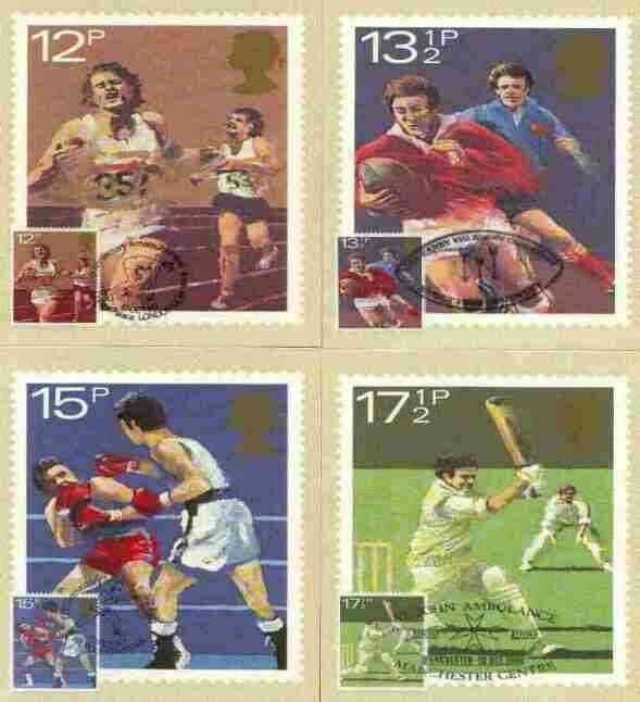 Great Britain 1980 Sport Centenaries set of 4 PHQ cards with appropriate stamps each very fine used with first day cancels