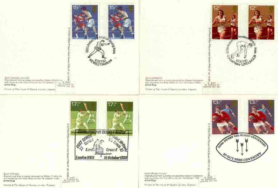 Great Britain 1980 Sport Centenaries set of 4 PHQ cards with appropriate gutter pairs each very fine used with first day cancels