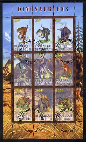 Djibouti 2010 Dinosaurs perf sheetlet containing 9 values fine cto used