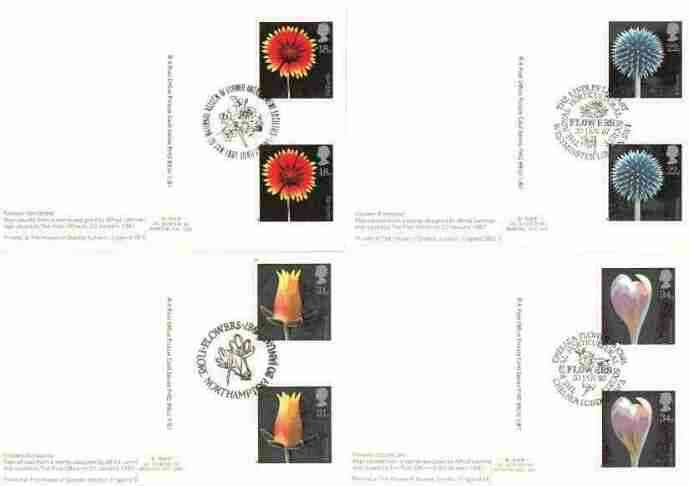Great Britain 1987 Flower Photographs set of 4 PHQ cards with appropriate gutter pairs each very fine used with first day cancels