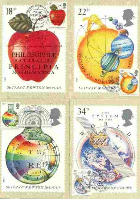 Great Britain 1987 Newton's Principles of Mathematics set of 4 PHQ cards with appropriate stamps each very fine used with first day cancels