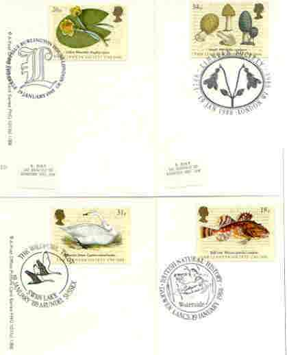 Great Britain 1988 Bicentenary of Linnean Society set of 4 PHQ cards with appropriate stamps each very fine used with first day cancels