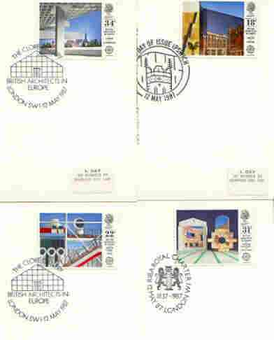 Great Britain 1987 Europa - British Architects set of 4 PHQ cards with appropriate stamps each very fine used with first day cancels