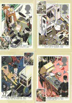Great Britain 1987 Centenary of St John Ambulance Service set of 4 PHQ cards with appropriate stamps each very fine used with first day cancels