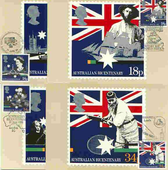 Great Britain 1988 Bicentenary of Australian Settlement set of 4 PHQ cards with appropriate stamps each very fine used with first day cancels