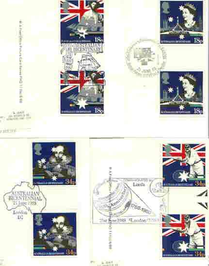 Great Britain 1988 Bicentenary of Australian Settlement set of 4 PHQ cards with appropriate gutter pairs each very fine used with first day cancels