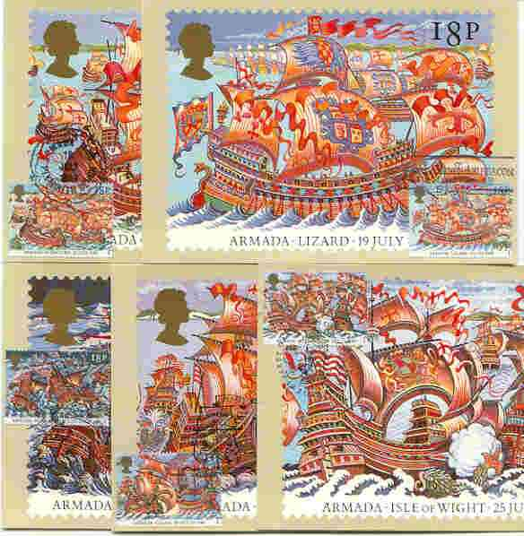 Great Britain 1988 Spanish Armada 400th Anniversary set of 5 PHQ cards with appropriate stamps each very fine used with first day cancels