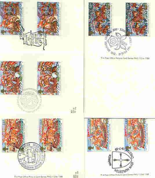 Great Britain 1988 Spanish Armada 400th Anniversary set of 5 PHQ cards with appropriate gutter pairs each very fine used with first day cancels