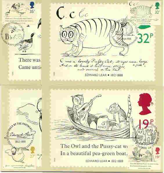 Great Britain 1988 Death Centenary of Edward Lear (Artist & Author) set of 4 PHQ cards with appropriate stamps each very fine used with first day cancels