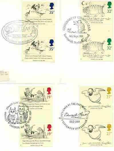 Great Britain 1988 Death Centenary of Edward Lear (Artist & Author) set of 4 PHQ cards with appropriate gutter pairs each very fine used with first day cancels