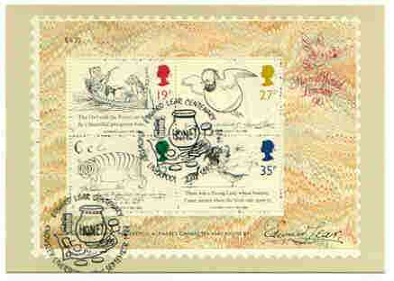 Great Britain 1988 Death Centenary of Edward Lear (Artist & Author) m/sheet on PHQ card very fine used with first day cancels