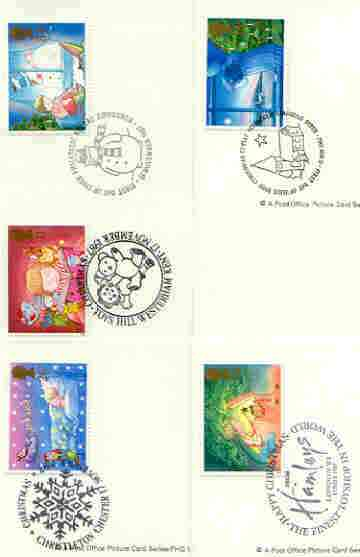 Great Britain 1987 Christmas set of 5 PHQ cards with appropriate stamps each very fine used with first day cancels