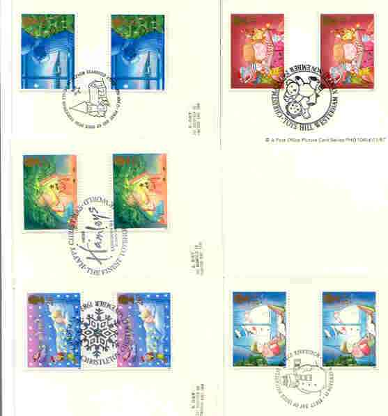 Great Britain 1987 Christmas set of 5 PHQ cards with appropriate gutter pairs each very fine used with first day cancels