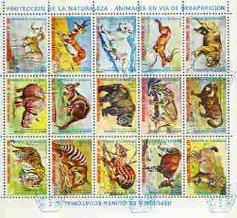 Equatorial Guinea 1974 Animals in Danger sheetlet of 15 values cto used, Mi 499-513