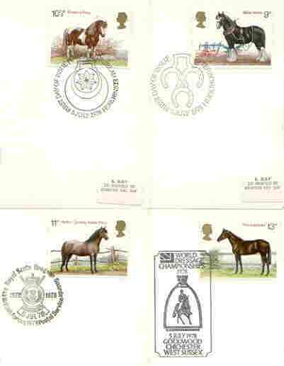 Great Britain 1978 Horses set of 4 PHQ cards with appropriate stamps each very fine used with first day cancels