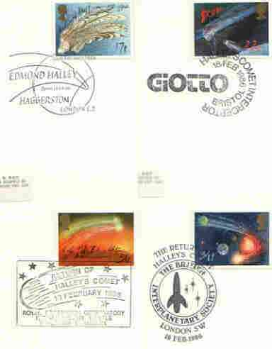 Great Britain 1986 Halley's Comet set of 4 PHQ cards with appropriate stamps each very fine used with first day cancels