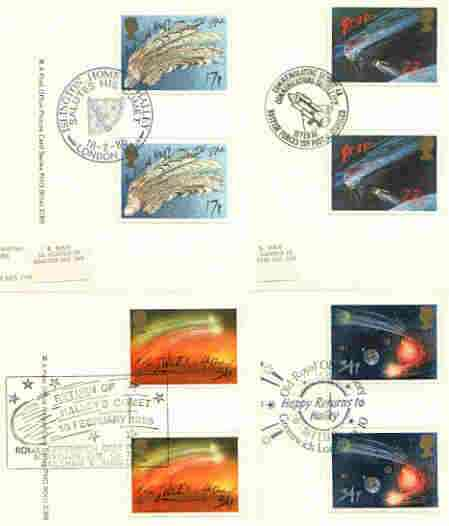 Great Britain 1986 Halley's Comet set of 4 PHQ cards with appropriate gutter pairs each very fine used with first day cancels